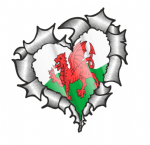 Ripped Torn Metal Heart with Waving Wales Welsh Country Flag Motif External Car Sticker 105x100mm